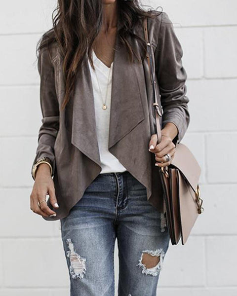 Solid Open Front Drape Jacket