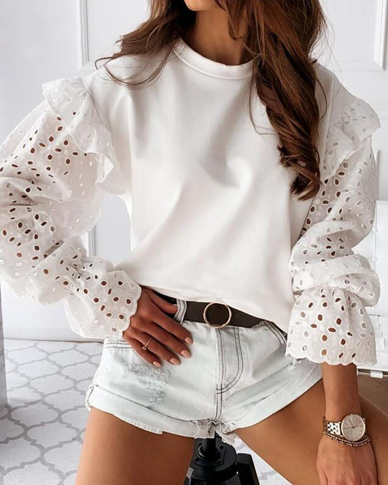 Eyelet Embroidery Ruffles Top
