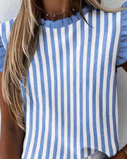 Striped Ruffles Sleeve Casual Top