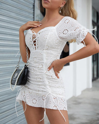 Eyelet Embroidery Ruched Ruffles Dress