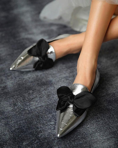 Bowknot Pointed Loafers Slip-on