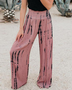 High-waist Printed Wide-leg Pants
