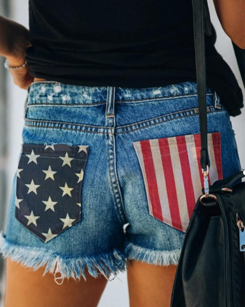 Ripped Print Patchwork Jean Shorts
