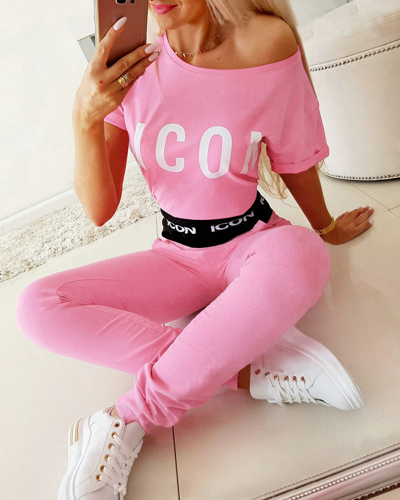 Letter Print Short Sleeve Casual Top & Pant Set