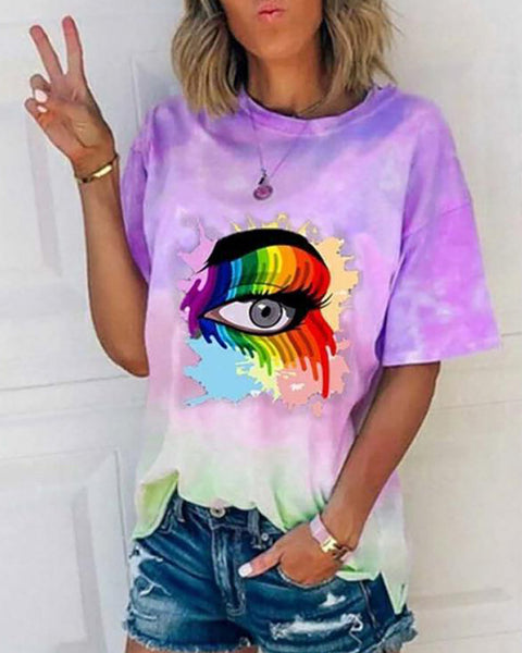 Tie Dye Eyes Print Casual T-shirt