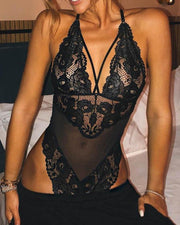 Sheer Lace Mesh Insert Teddy Bodysuit