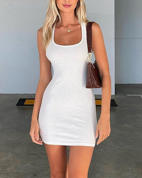 Solid Ribbed Bodycon Mini Dress