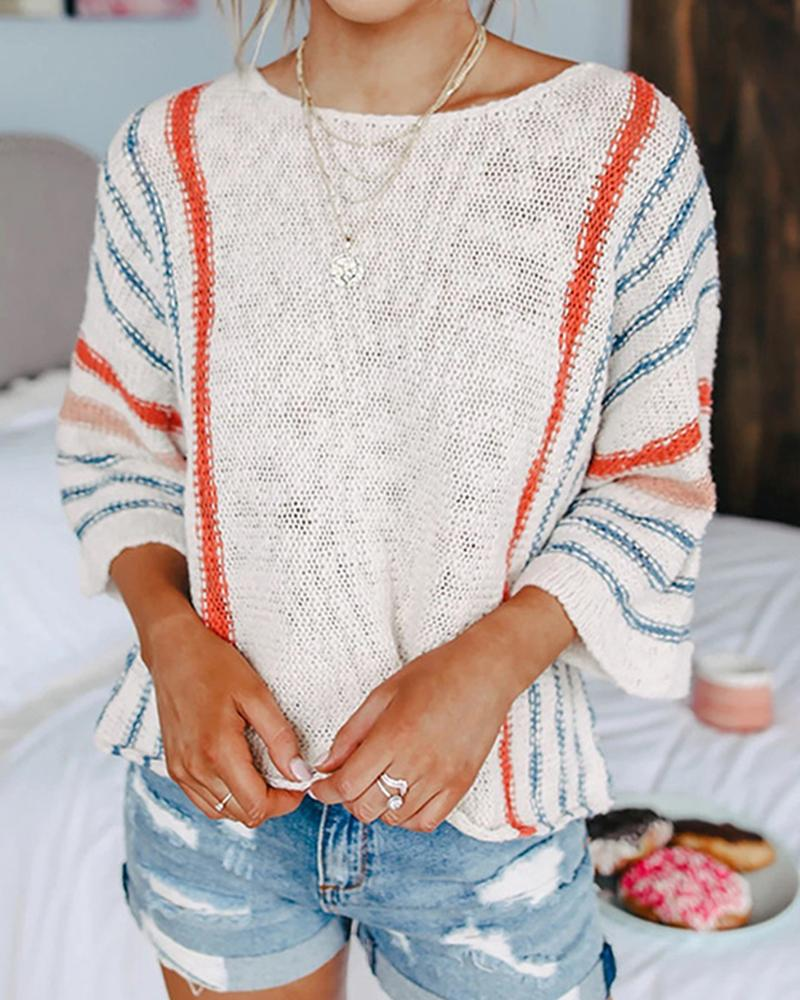 Striped Long Seeve Loose Knitted Sweaters