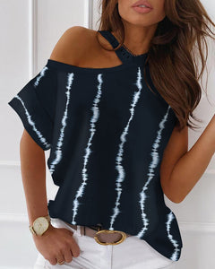 Tie Dye Print Cold Shoulder Casual T-shirt