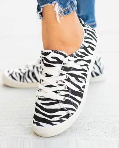 Zebra Print Lace-up Canvas Sneakers