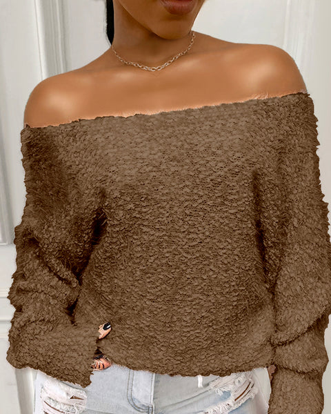 Off Shoulder Fluffy Long Sleeve Sweater