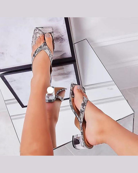 Solid Snakeskin Open Toe Sandals