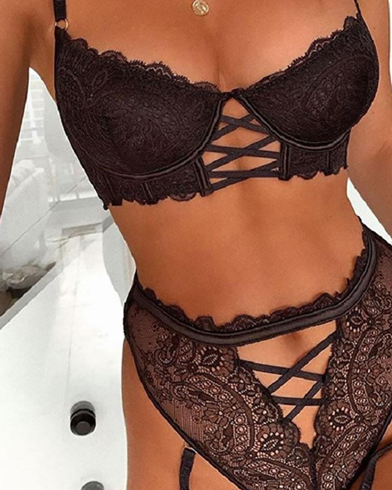 Eyelash Crochet Lace Lace-up Lingerie Set