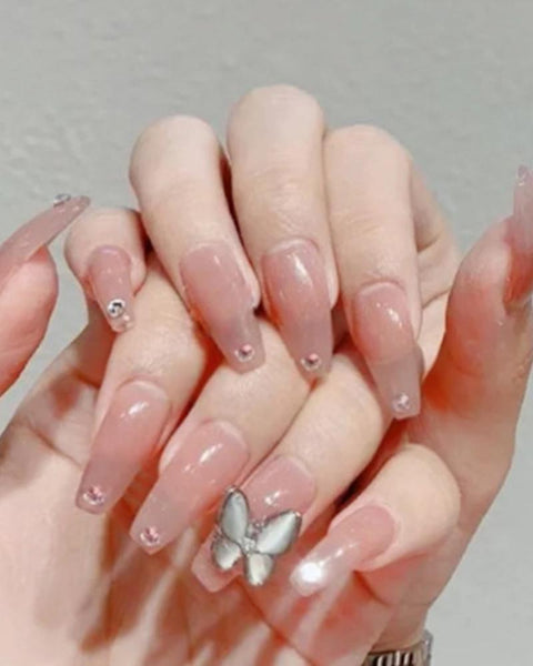 Jelly Butterfly Nail Tip Manicure