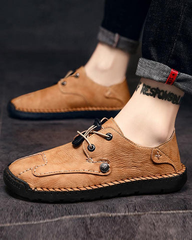 Retro Round-toe Solid Slip-on