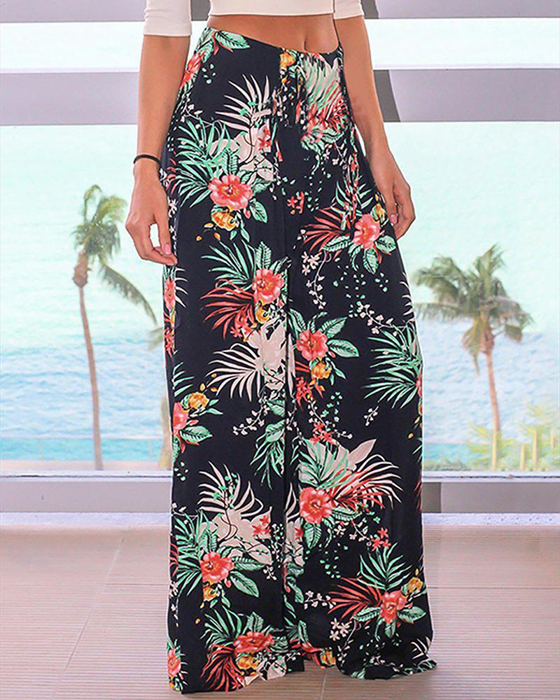 Printed Belt Pocket Pants Wide-leg Pants