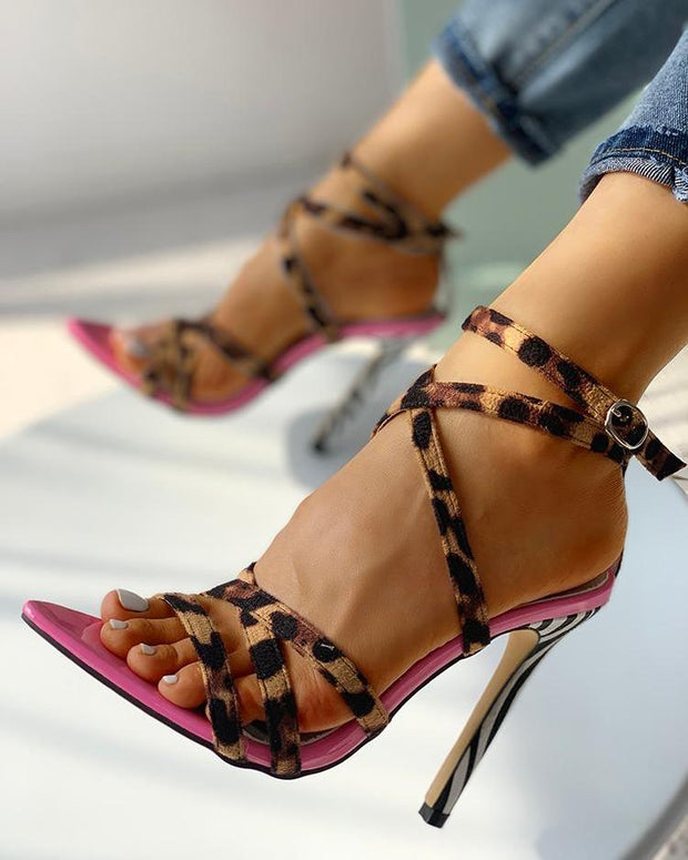 Multi-Strap Crisscross Thin Heeled Sandals