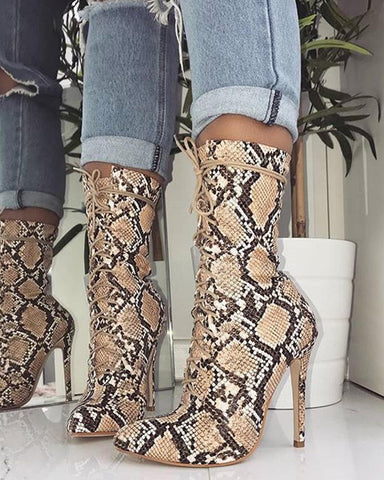 Snakeskin Leather Pointed Heeled Boots