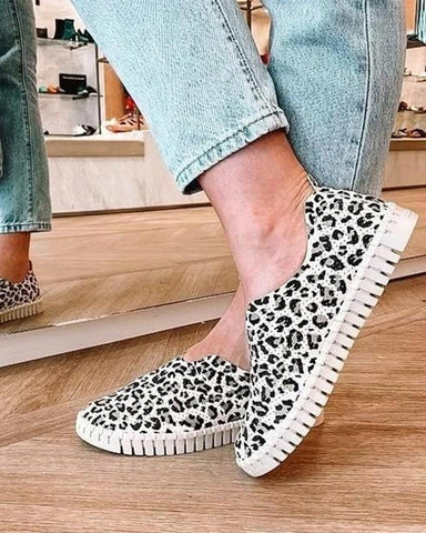 Leather Animal Print Flat Slip-on