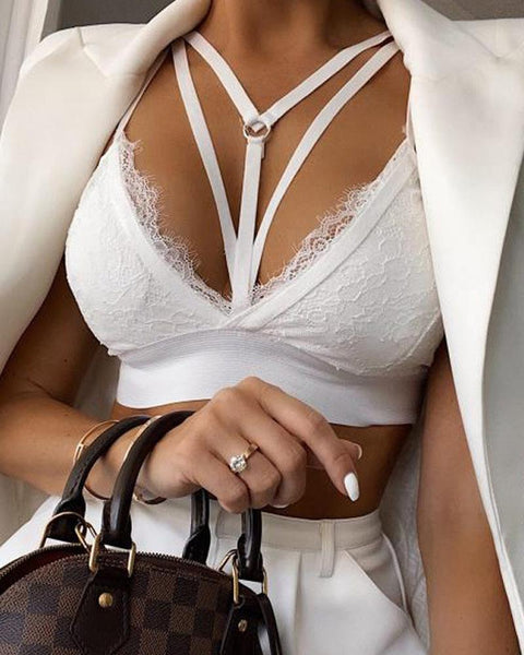 Lace Hem V Neck Bra Tank Top