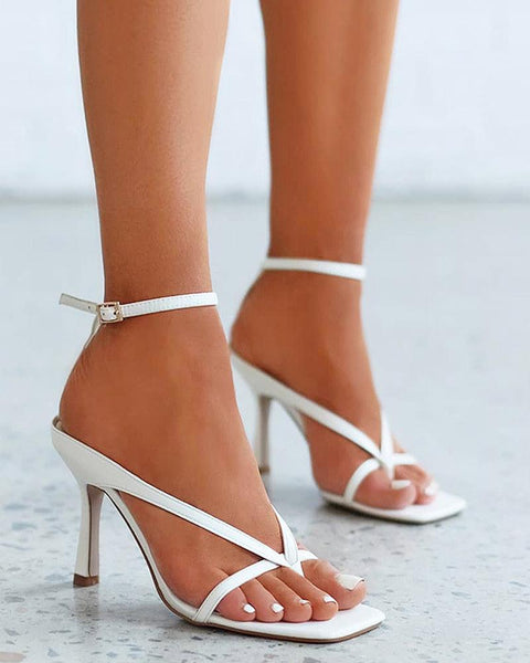 Solid Cut-out Heeled Sandals