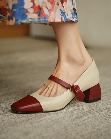 Square-toe Shallow Mouth Jenny Shoes