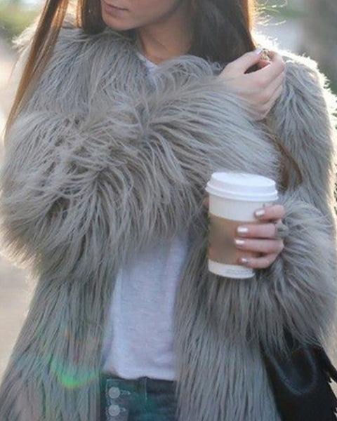 Solid Open Front Fur Fluffy Coat