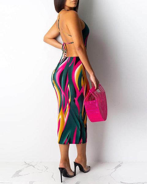Multicolor Strap Printed Halter Backless Bodycon Dress