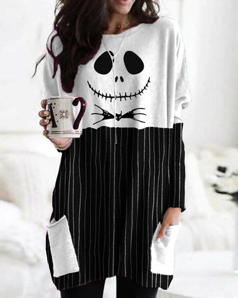 Halloween Scared Face Print Pockets Design Top