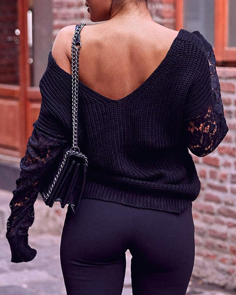 Lace Detail Twisted Ribbed Sweater
