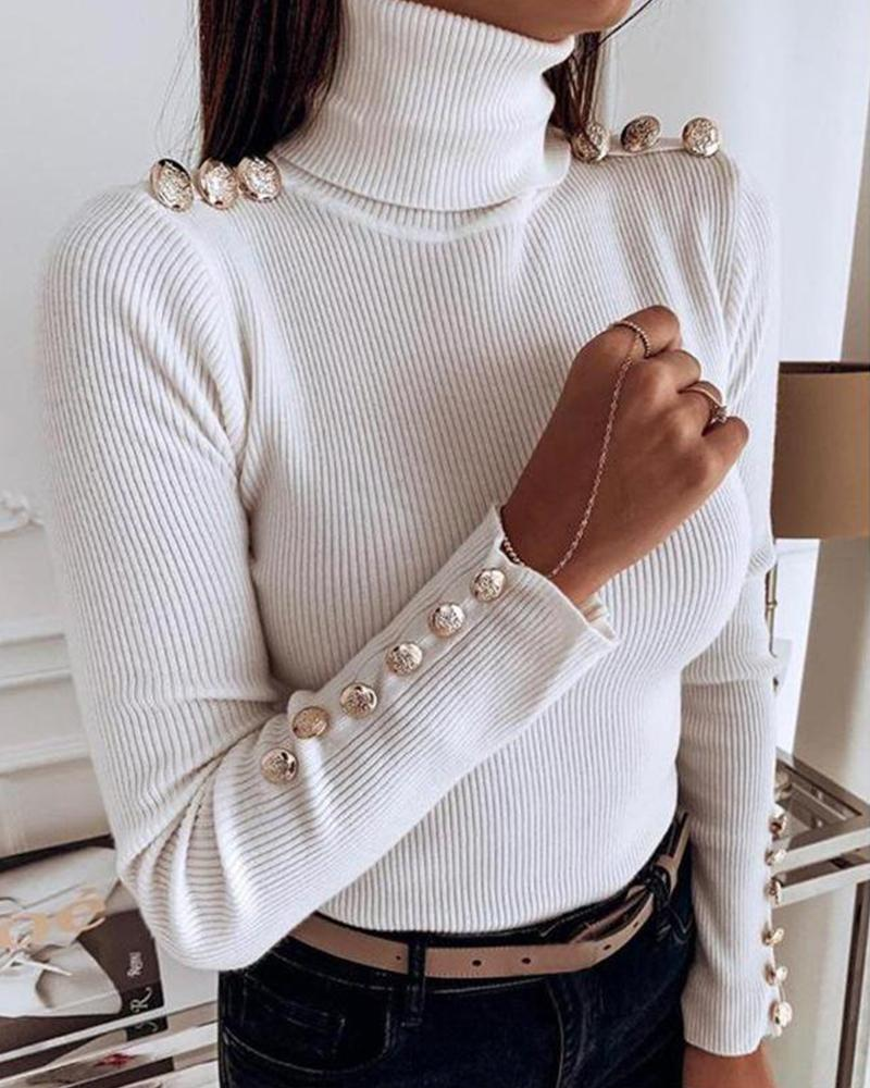 Solid High Neck Rib Top
