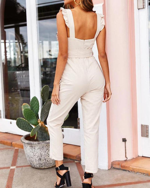 Fashion Wooden Ear Straight Jumpsuit