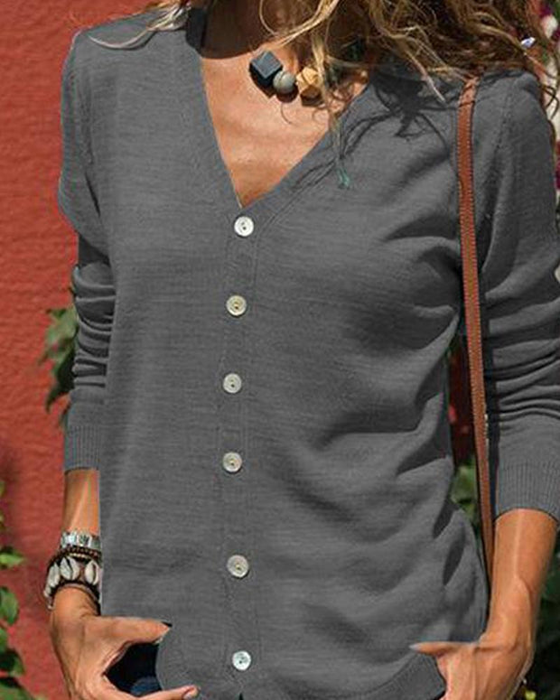 Solid V Neck Button-Up Blouse