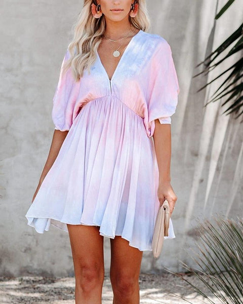 Multicolor Drawstring Short Sleeve Loose A Line Dress