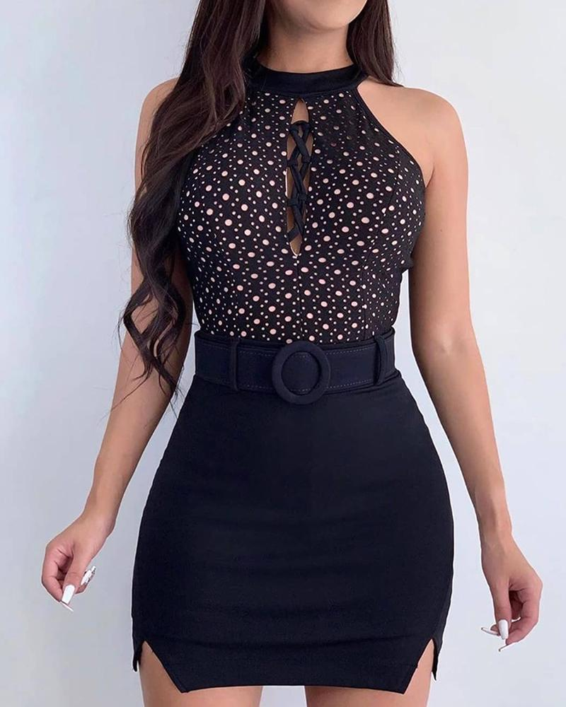 Polkadot Print Lace-up Top & Slit Skirt Set