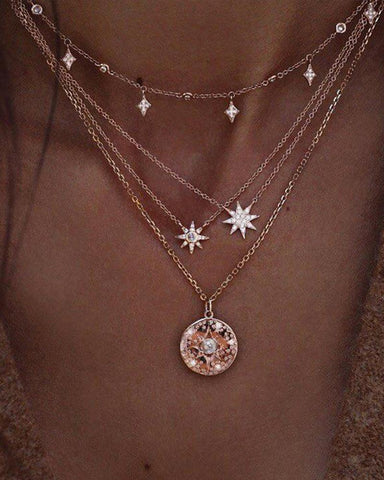 Vintage Bohemian Gold Rhinestone Star Pendant Necklace