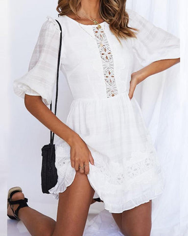 Solid Cut-out Backless Lace Patchwork Half Sleeve Dress