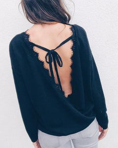 Wrapped Lace Open Back Casual Blouse