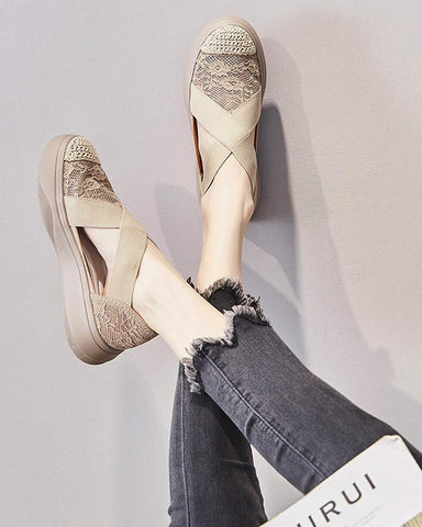 Lace Cut-out Fisherman Slip-on