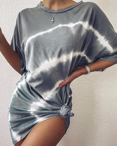 Tie Dye Print Casual T-shirt Dress
