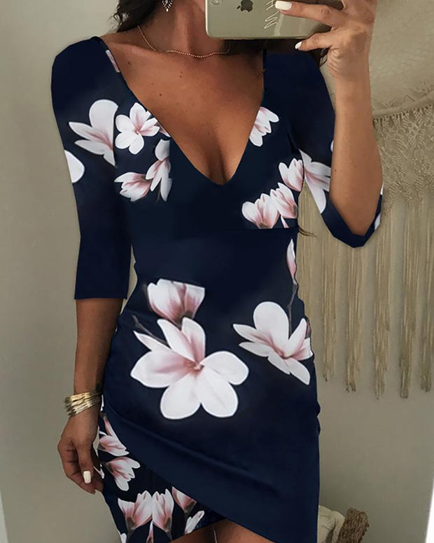 Asymmetric Floral Print Open Back Bodycon Dress