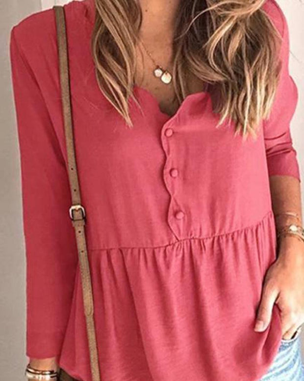 Solid Button Front Smocked Top