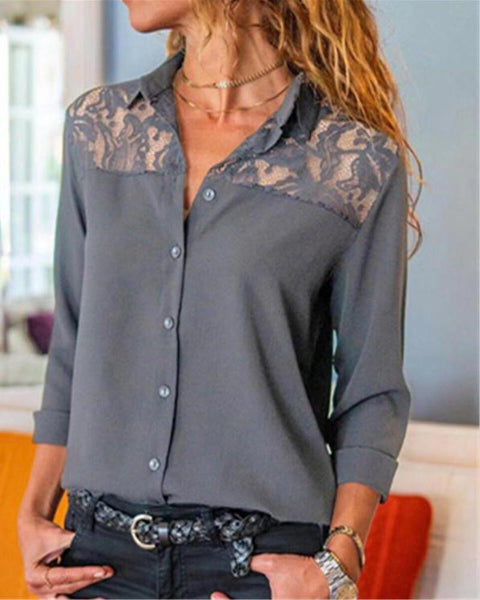 Lace Insert Button-Up Shirt