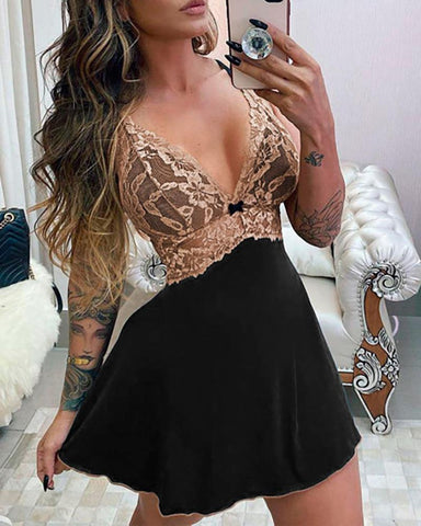 Lace Bust Sheer Mesh Crisscross Backless Babydoll