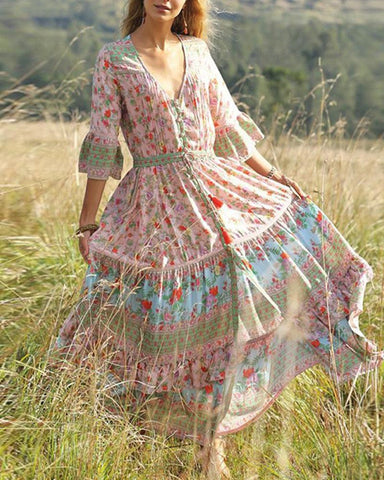 Boho Print Pleating Split Dress