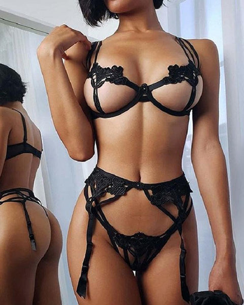 Eyelet Lace Mesh Bra Sets