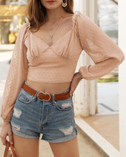 Solid V Neck Crop Top