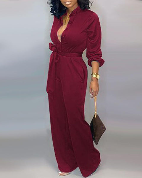 Solid Buttoned Pocket Casual Jumpsuit