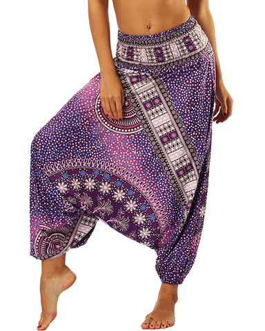 Print Wide Leg Culotte Design Yoga Pants