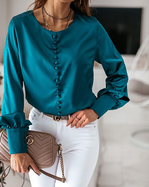 Solid Button-Up Satin Blouse
